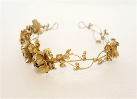 a gold sprayed flower crown wedding hairstyles photos gold flower crown golden floral circlet bridal headpiece