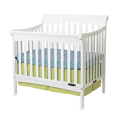 White Mini Crib Child Craft Coventry Mini 4 In 1 Convertible Sleigh Crib In White Www Buybuybaby