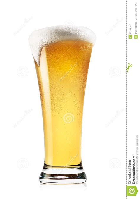 Glass Light Tall Glass Of Light Beer With Foam Stock Photo Image