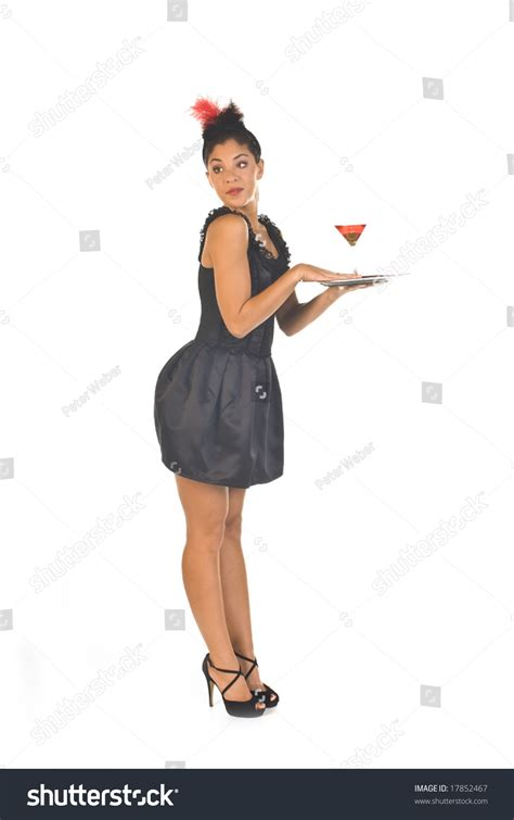 cocktail waitress lounge ready serve drink stock photo 17852467