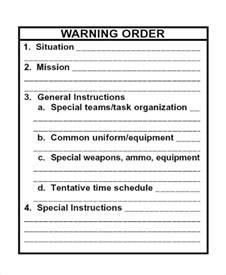 warning order template warning order templates free premium templates