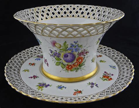 Deutsches Porzellan by Reticulated German Porcelain Large Bowl And