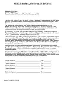 Tenant Lease Termination Letter by Termination Of Lease Tenancy Ez Landlord Forms Letter Sle And