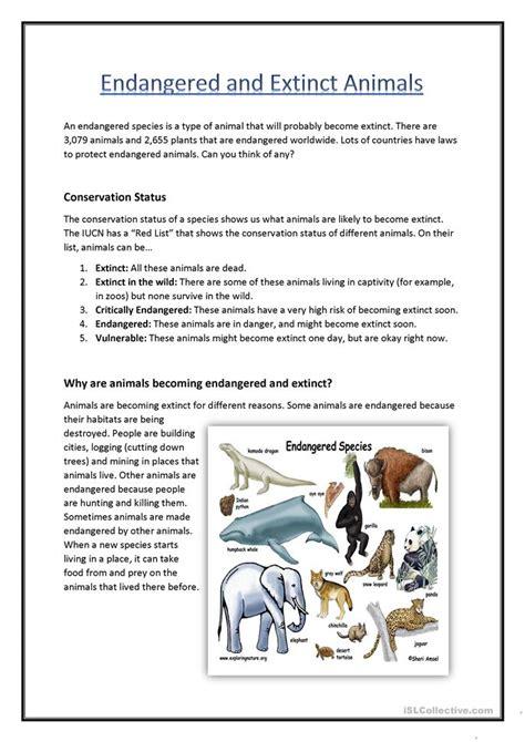 printable endangered animal fact sheets endangered extinct animals worksheet free esl