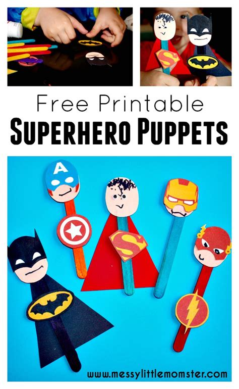 printable heroes instructions superhero puppet craft messy little monster