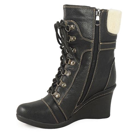 grey wedge army combat boots sizes 3 8 ebay