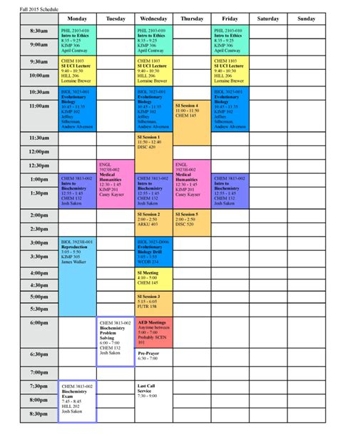 color coded calendar template create a color coded weekly or monthly calendar schedule