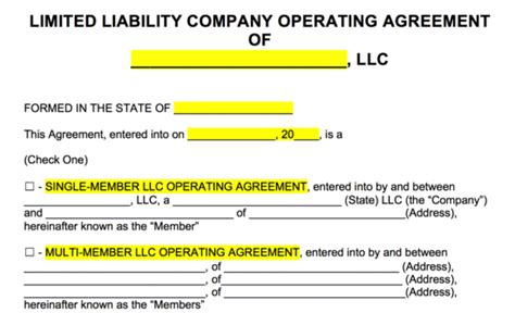 free operating agreement template for parnership llc no card needed free llc operating agreement templates pdf word