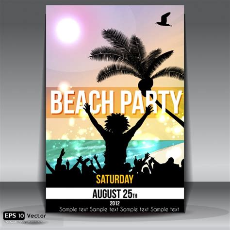 design poster for party summer beach party poster design vector free download