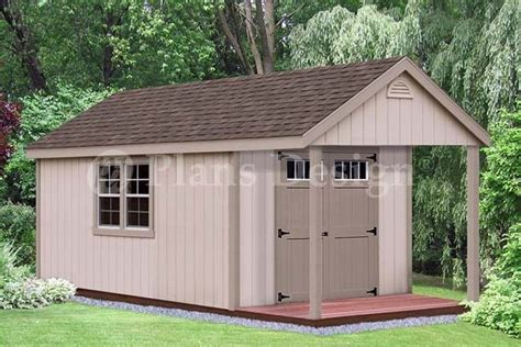 Shed With Loft And Porch by 16 X 10 Cabin Poolhouse Shed With Porch Plans P61610