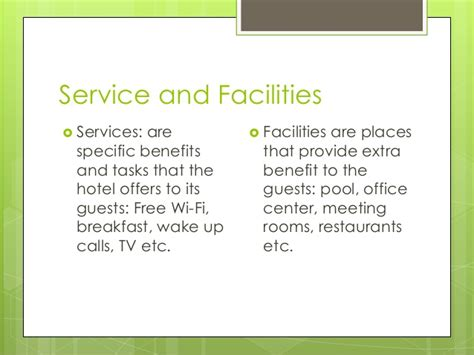 what are amenities hotel services facilities