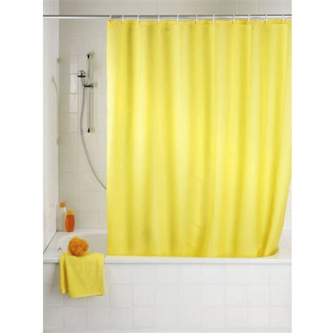 wenko plain yellow polyester shower curtain 1800 x