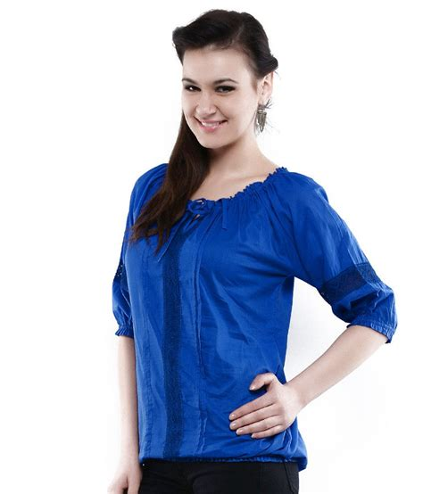 best blue buy u f blue cotton tops online at best prices in india snapdeal