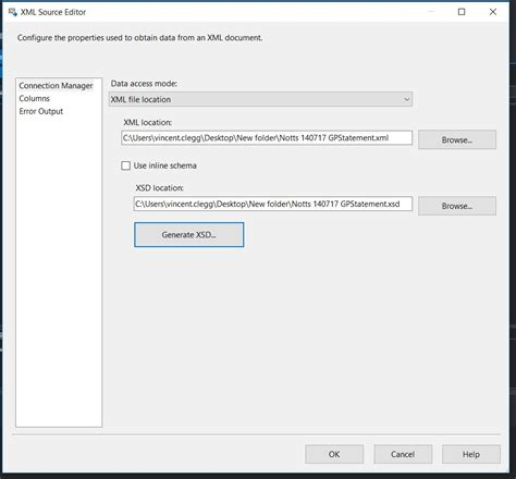 section 304a xml source to sql data flow