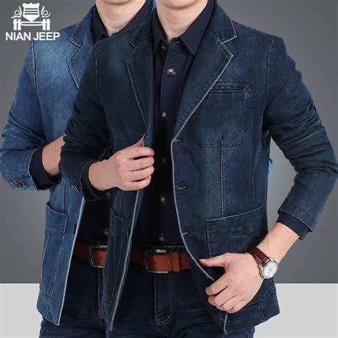Blazer Jaket Sintetis Casual nianjeep brand denim blazer masculino jacket slim fit casual autumn winter blazer suit