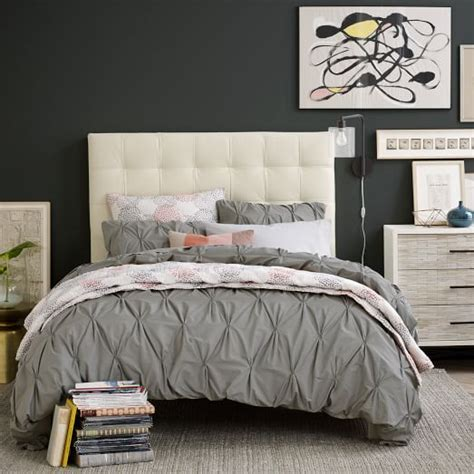 west elm tall grid tufted headboard tall grid tufted leather bed ivory west elm