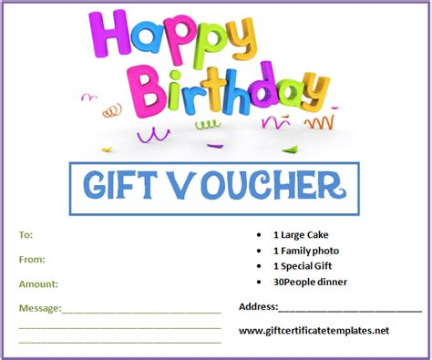 Birthday Gift Certificate Template Birthday Gift Card Template Printable
