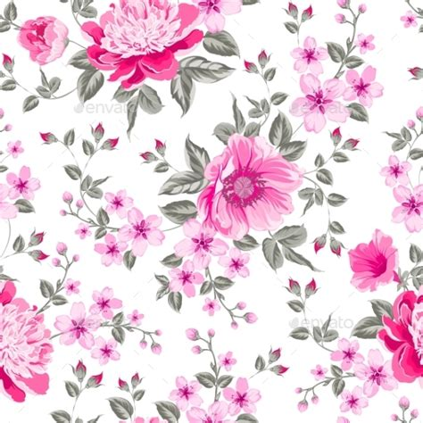 design textile bunga peony pattern by kotkoa graphicriver
