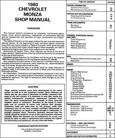 car repair manuals online pdf 1975 chevrolet monza parking system 1980 chevy monza repair shop manual original