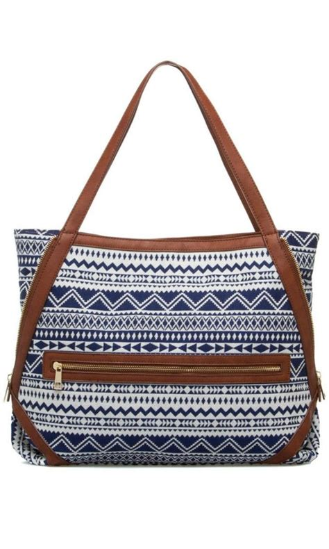 tote bag straps pattern blue geometric tote with brown straps bags and such