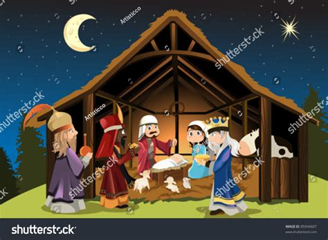 vector illustration christmas concept birth jesus stock vector  shutterstock