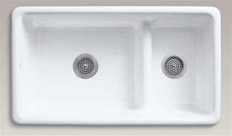 Low Profile Kitchen Faucet by Kohler K 6625 0 Iron Tones Smart Divide Self Rimming Or