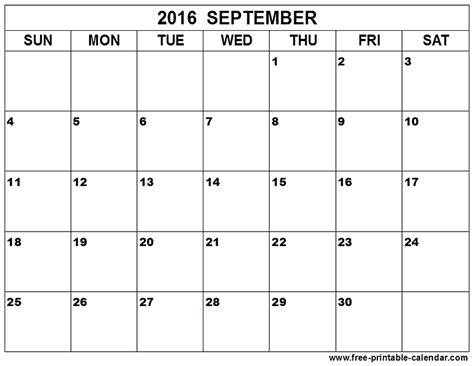Printable Blank Calendar Template 2016