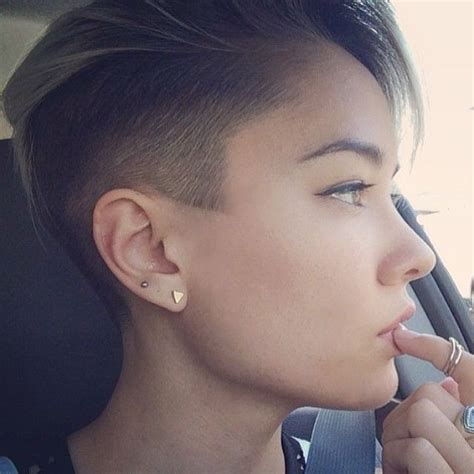 women getting hair buzzed and shaved fade haircuts short medium buzzed side part long top