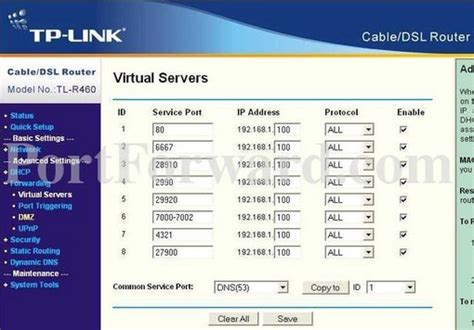 aprire porte tp link how to open a port on the tp link tl r460