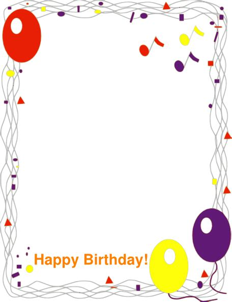 Happy Birthday Border Clip Art At Clker Com Vector Clip Art Online Royalty Free Public Domain Free Printable Birthday Borders And Frames