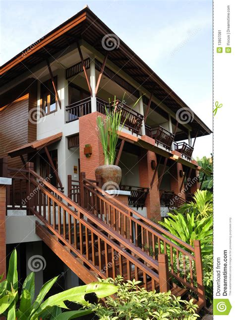 modern thai house  vegetation stock image image