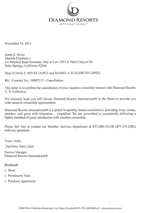 wyndham contract cancellation letter resorts2 timeshare cancellation