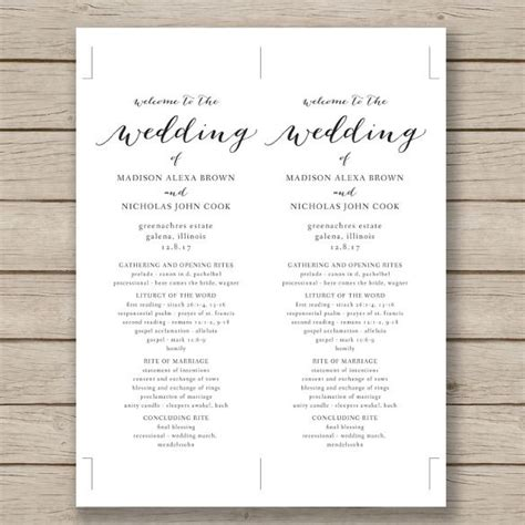 sle wedding ceremony program template wedding program template 41 free word pdf psd