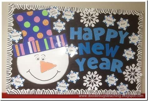 new year board decoration happy new year snowman bulletin board idea