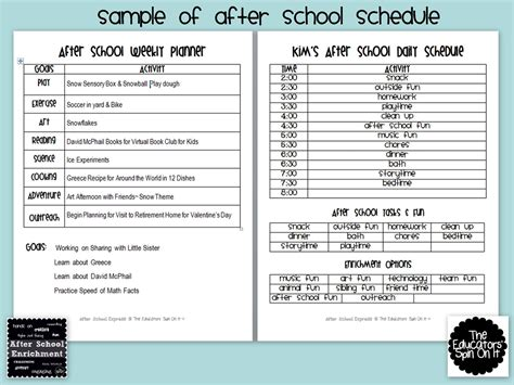 After School Weekly Planner The Educators Spin On It After School Program Lesson Plan Template