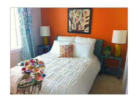teal accents bedroom bright orange bedroom wall with teal accents guest