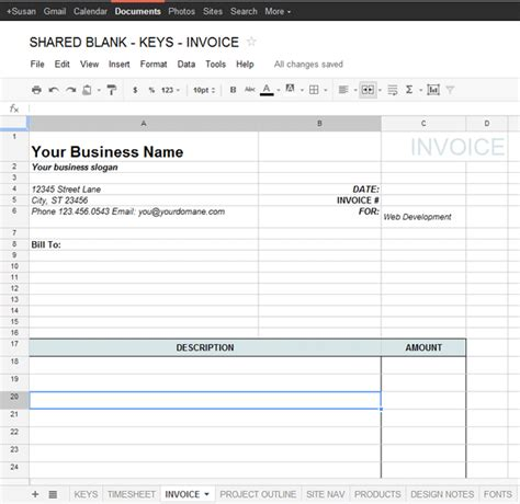 Google Docs Invoice Template Printable Invoice Template Basic Invoice Template Docs