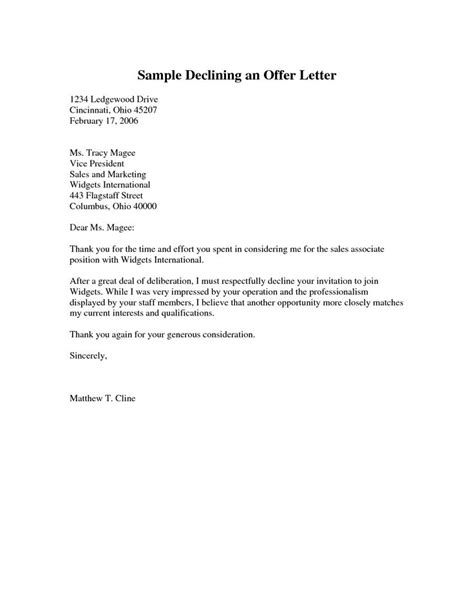 Decline Offer Letter Sle Declining An Offer Letter Pdf Cover Latter Sle Letters