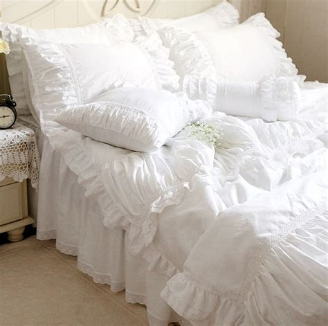 luxury white lace ruffle bedding sets twin full queen king