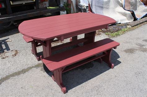 table with two benches poly 5 oval table with two side 48 benches amish