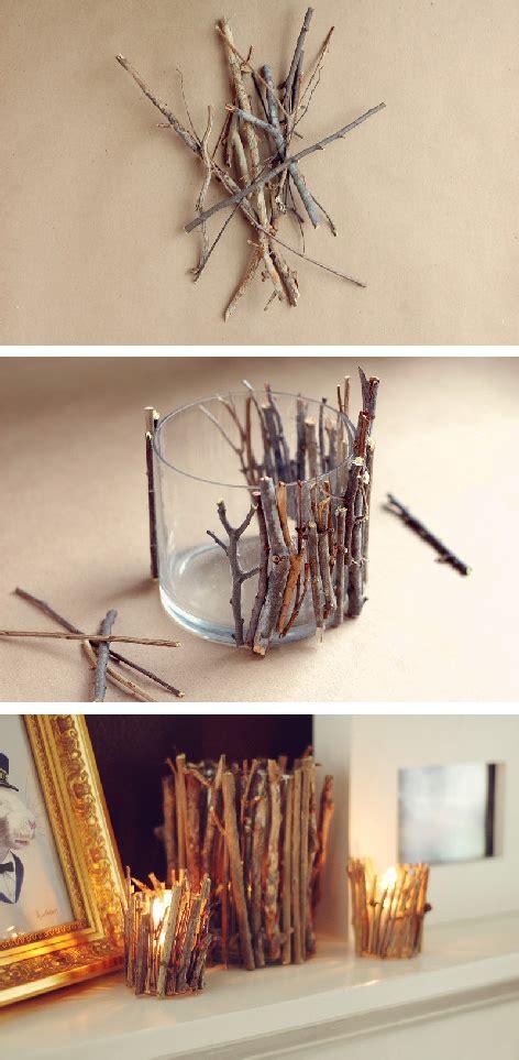 costruire candele porta candele fai da te con rami e legno wood ideas