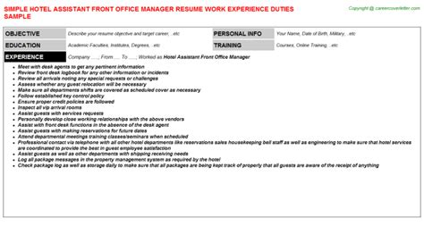 hotel assistant front office manager resume sle dental office manager resumes sles