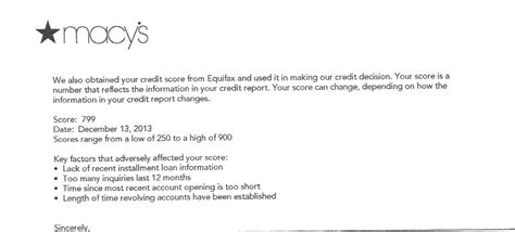 Credit Card Refusal Letter Sle Finally Got Cli Letter From Macys Myfico 174 Forums