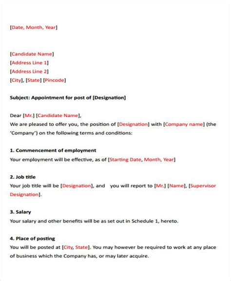 appointment letter format of accountant 26 letters