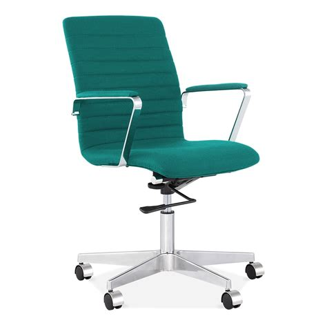 Teal Office Chair by Cult Living Barclay Ribbed Teal Office Chair In