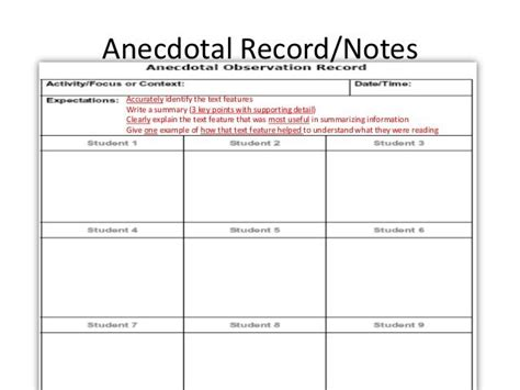 guided notes template 1000 ideas about anecdotal notes on guided