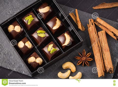 Luxury Handmade Chocolates - luxury handmade chocolate bonbon assortment stock photo