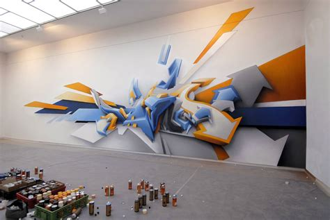 Wall Mural Paintings daim s 3d graffiti displayed on street and museum walls