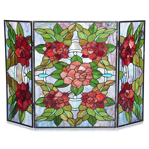 Stained Glass Fireplace Screens Sale by Style 40 Quot Grandiose Rosette Stained Glass