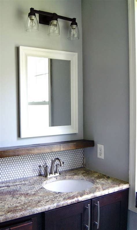 shelf above bathroom sink love the chunky wooden shelf above the sink helpful for